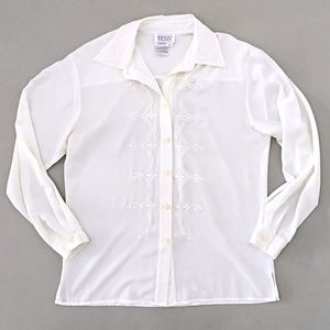 TESS Womens Ivory Floral Embroidered Blouse 8 VTG